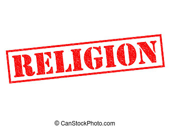RELIGION red Rubber Stamp over a white background