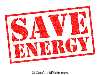 SAVE ENERGY red Rubber Stamp over a white background.