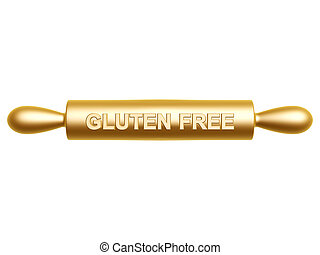 gluten free rolling pin isolated on white background