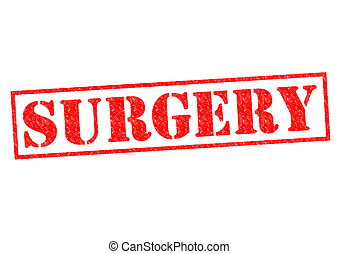 SURGERY red Rubber Stamp over a white background