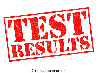 TEST RESULTS red Rubber Stamp over a white background