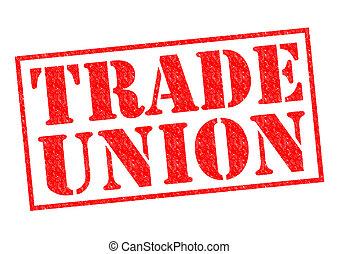 TRADE UNION red Rubber Stamp over a white background