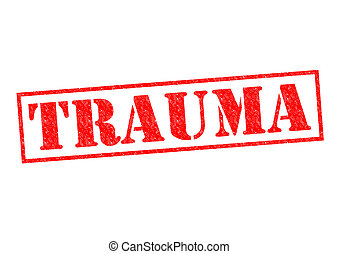 TRAUMA red Rubber Stamp over a white background.