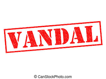 VANDAL red Rubber Stamp over a white background.