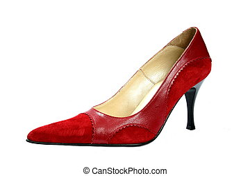 Footwear - beautiful feminine footwear on white background,...