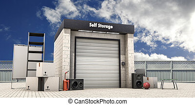 self storage with used stuff outside