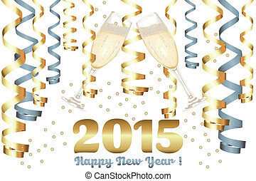 Champagne glasses in New Year - 2015 New Year card,...