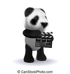 3d Baby panda bear is making a movie - 3d render of a baby...