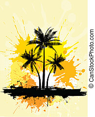 grunge palm trees  - Grunge style palm trees background