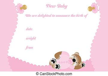 Birthday card for girl with cute bear
