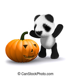 3d Baby panda bear finds a Halloween pumpkin - 3d render of...