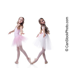 Two pretty girlfriends-ballerinas posing at camera, isolated...