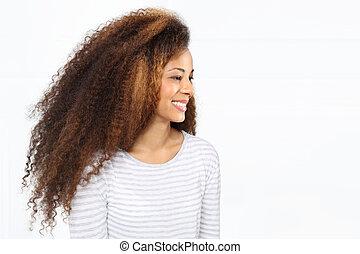 Dark skinned woman - Young dark skinned girl smiling up for...