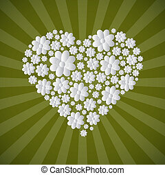 Heart Shaped Paper Cut Flowers on Green Retro Background