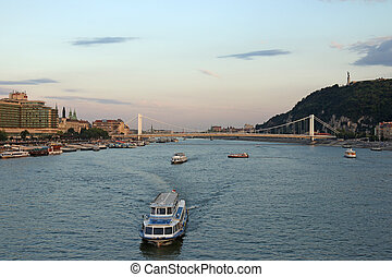 twilight over Danube river Budapest