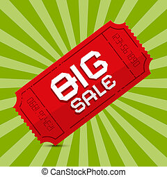 Red Big Sale Paper Ticket on Green Background