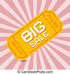 Orange Big Sale Paper Ticket on Pink Background