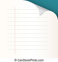 Lined Paper with Bent Corner Vector Illustration