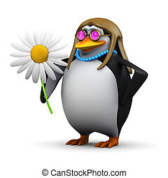 3d Hippy penguin flower child - 3d render of a penguin with...