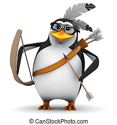 3d Native American penguin has bow and arrow - 3d render of...