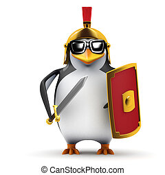 3d Penguin centurion - 3d render of a penguin in Roman...