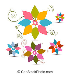 Abstract Vector Retro Flowers Set Illustration