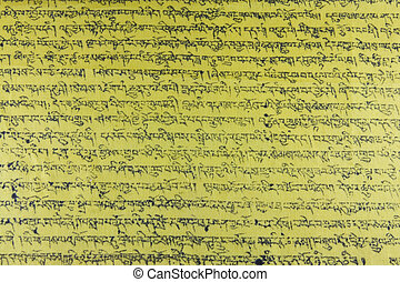 Tibetan writings - Fully framed Tibetan yellow praying...