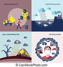 Pollution icons flat set - Pollution waste products water...