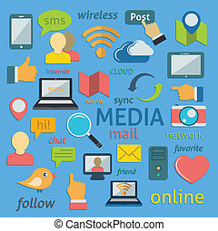 Social network icons composition - Social media sign in flat...