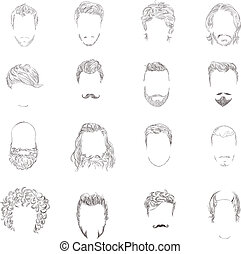 Man hair style set - Hand drawn man male avatars set with...