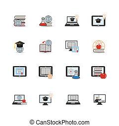 appartamento, educazione, linea, icona
