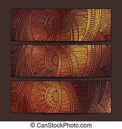 ethnic pattern card set. - Abstract vector hand drawn...