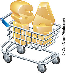 Sale shopping trolley, a supermarket trolley shopping cart...