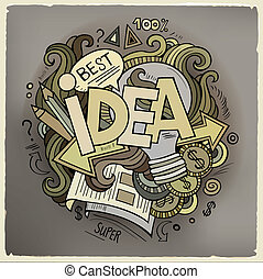Idea hand lettering and doodles cartoon elements background....