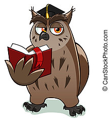 wise owl - Wise owl teacher holds and reads red book.