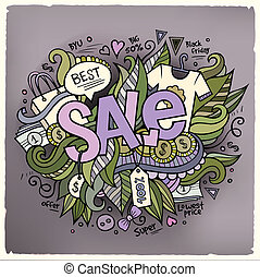 Sale cartoon hand lettering and doodles elements background