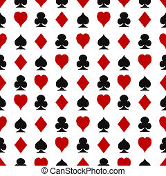 Seamless pattern with playing cards suits - Casino seamless...