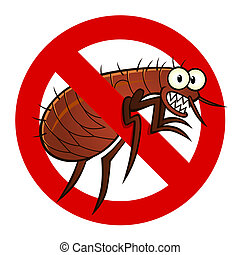 anti flea sign - Anti parasite sign with a funny cartoon...