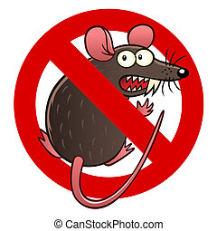 anti mouse sign - Anti pest sign with a funny cartoon mouse.