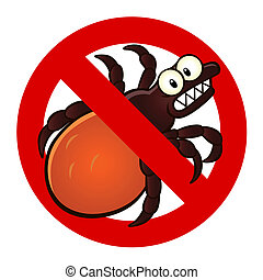 anti tick sign - Anti parasite sign with a funny cartoon...