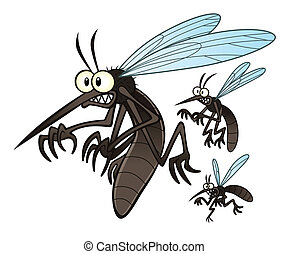 mosquitoes - Vector illustration of flying three cartoon...