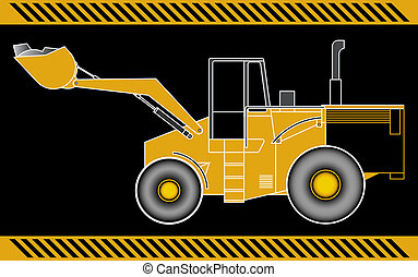 Loader excavator construction machinery equipment isolated