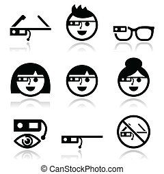 Google glass vector icons set - Vector black icons set of...