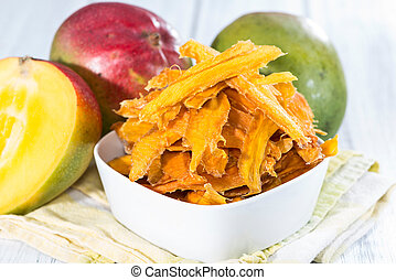 Bowl with Mango Slices - Small bowl with dried Mango slices...