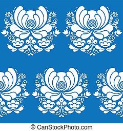 Norwegian folk art seamless pattern - Vector floral...