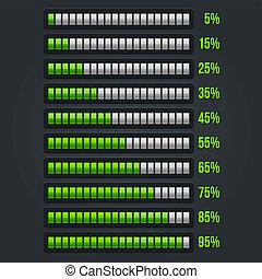 Green Progress Bar Set. 5-95% Vector Illustration