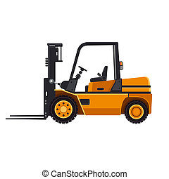 Yellow Forklift Loader Truck Isolated on White Background. Vector
