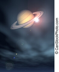 saturn - the planet saturn on star sky - 3d illustration