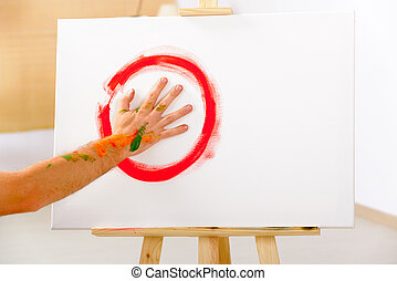 Finger painting paint with palms - Finger painting,...