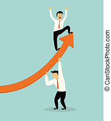 business man stand on top of graph arrow,successful...